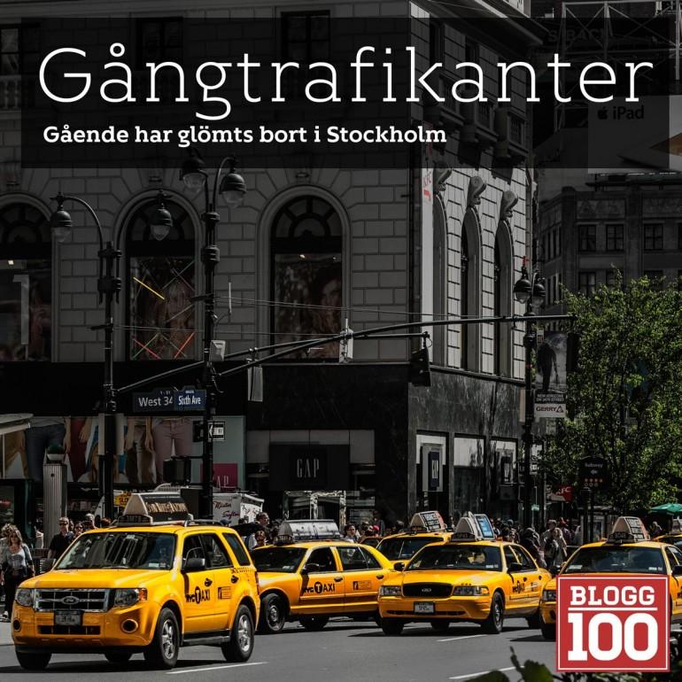Gångtrafikanter är utsatta i Stockholm. De har ingen plats att vara på. Bilar och cyklister prioriteras. Är det så att vi skall förflytta oss med buss?